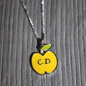 Dior Yellow Apple Logo Pendant Necklace